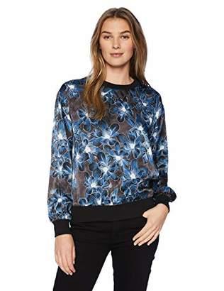 Ellen Tracy Women's Satin Sweatshirt with Rib Trim