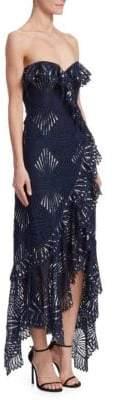 Jonathan Simkhai Sheer Metallic Asymmetrical Bustier Dress