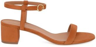 Mansur Gavriel Suede 40mm Ankle Strap Sandal - Saddle