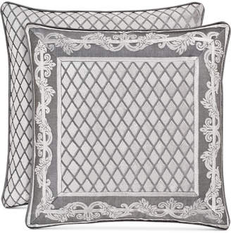 "J Queen New York Bel Air Tufted-Chenille Silver 20"" Square Decorative Pillow Bedding"