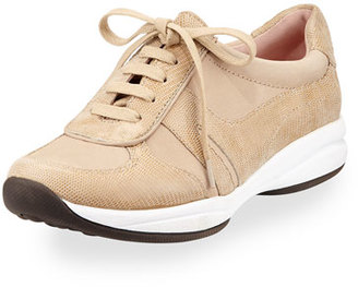 Taryn Rose Arvella Leather Trainer Sneaker, Soft Taupe $239 thestylecure.com