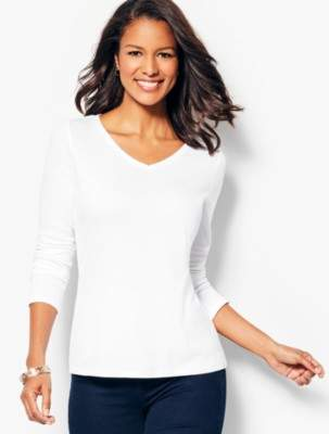 Talbots Long-Sleeve V-Neck Tee - Solid