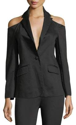 Frame Cold-Shoulder Single-Breasted Sateen Blazer