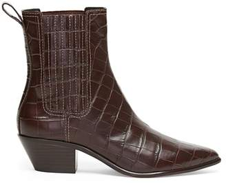 Loeffler Randall Aylin Croc-Embossed Leather Western Booties