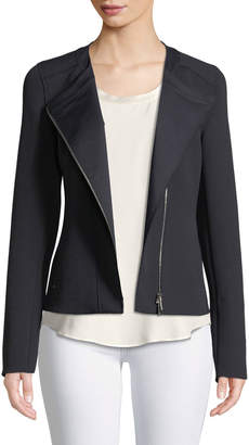 Lafayette 148 New York Trista Zip-Front Long-Sleeve Grid Cloth Jacket
