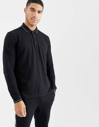 HUGO Donol long sleeve tipped pique polo in black