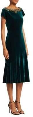 Theia Cap Sleeve Velvet Midi Dress