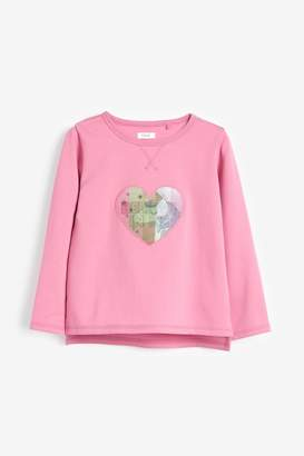 Next Girls Pink Lenticular Heart Unicorn Sweat (3-16yrs) - Pink