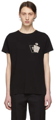 Saint Laurent Black Gun Rose Logo T-Shirt