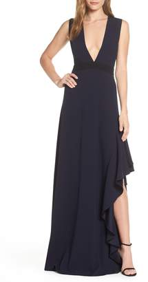 ML Monique Lhuillier ML Monique Lhullier Sleeveless Crepe Gown
