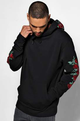 boohoo Over The Head Hoodie With Rose Embroidery