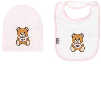 Moschino Kids bear beanie & bib set