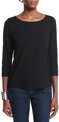 Eileen Fisher 3/4-Sleeve Cotton Tee $58 thestylecure.com