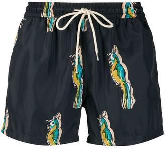 Nos Beachwear parrot print swim shorts