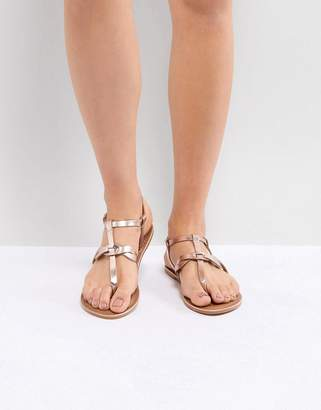 New Look Leather Metallic Twist Toe Post Flat Sandal