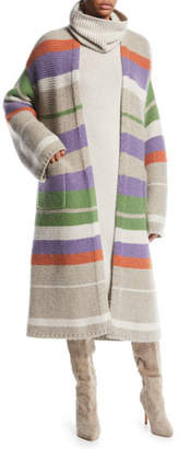 Loro Piana Darlington Open-Front Striped Cashmere Cardigan