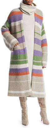 Loro Piana Darlington Open-Front Striped Cashmere Cardigan