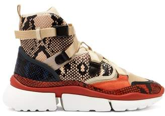 Chloé Sonnie Raised Sole High Top Trainers - Womens - Nude Multi