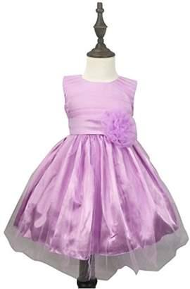 K-Cliffs Chiffon Tulle Wedding Pageant Flower Girl Dress Bow Tie Sash Satin Skirt, Purple 90