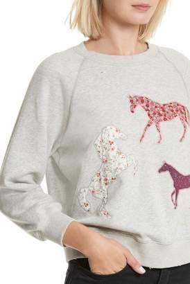 Rebecca Taylor Applique Fleece Sweatshirt