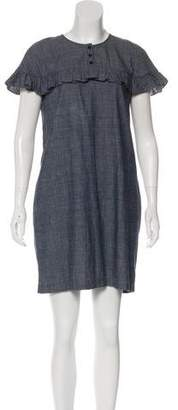 Burberry Ruffle Chambray Dress