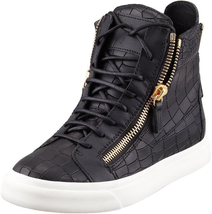 Giuseppe Zanotti Croc-Embossed Low Top Sneaker, Black
