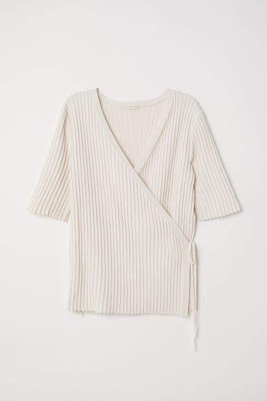 H&M - Rib-knit wrapover top - White