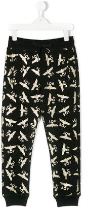 Boy London Kids metallic logo print sweatpants