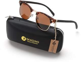 SKADINO Handmade Burnt Bamboo Sunglasses with Polarized Lenses for Men or Women in a Clubmaster-S1059C05