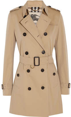 Burberry - The Kensington Mid Cotton-gabardine Trench Coat - Sand $1,795 thestylecure.com