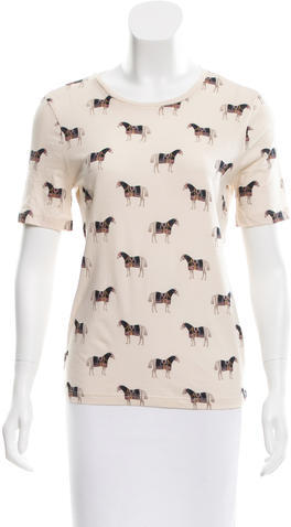 Tory BurchTory Burch Horse Printed Crew Neck Top