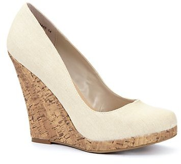Stone Canvas Cork Wedge Shoes