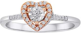 MODERN BRIDE 1/8 CT. T.W. Diamond Two-Tone Heart Ring