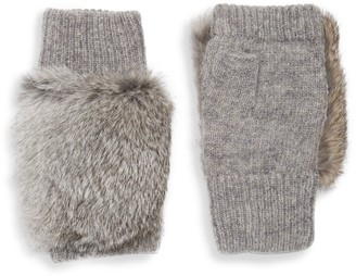 Adrienne Landau Dyed Rabbit Fur-Trim Fingerless Gloves