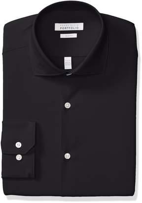 Perry Ellis Men's Non-Iron Tech Slim Fit Comfort Collar Solid Dress Shirt, Light Blue