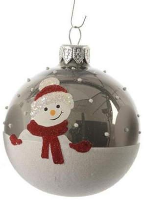 Asstd National Brand Alpine Chic Pearl Gray Decorative Snowman Design Glass Christmas Ball Ornament 3.25 (80mm)