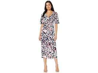 Maggy London Print Crepon Wrap Over Maxi Dress