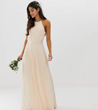 TFNC Petite Petite bridesmaid exclusive high neck pleated maxi dress in pearl pink