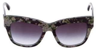 Dolce & Gabbana Floral Print Wayfarer Sunglasses Black Floral Print Wayfarer Sunglasses