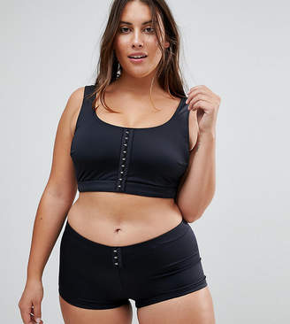 Asos DESIGN Curve recycled Mix and Match Crop Bikini Top with Hook and Eye