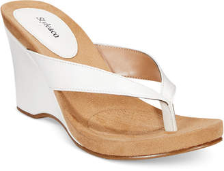 Style & Co Chicklet Wedge Thong Sandals, Created for Macy's Women's Shoes $39.50 thestylecure.com