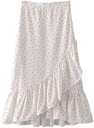 Goodnight Macaroon 'Stephanie' Dotted Wrap Tied Ruffle Midi Skirt (2 Colors)