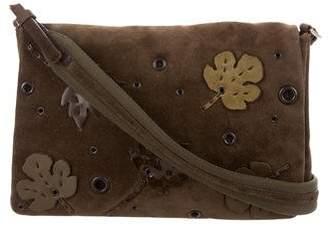 d50b2cc3cf Prada Appliqué   Grommet-Trimmed Suede Bag