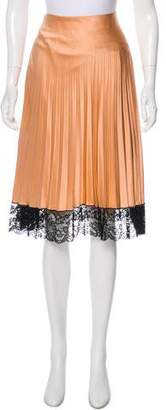 Miguelina Lace-Trimmed Pleated Skirt