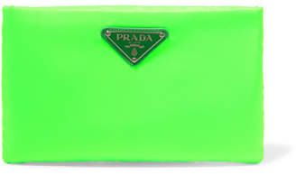 Small Leather-trimmed Neon Shell Pouch - Green