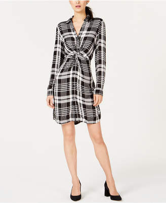INC International Concepts I.N.C. Plaid Twist-Front Shirtdress, Created for Macy's