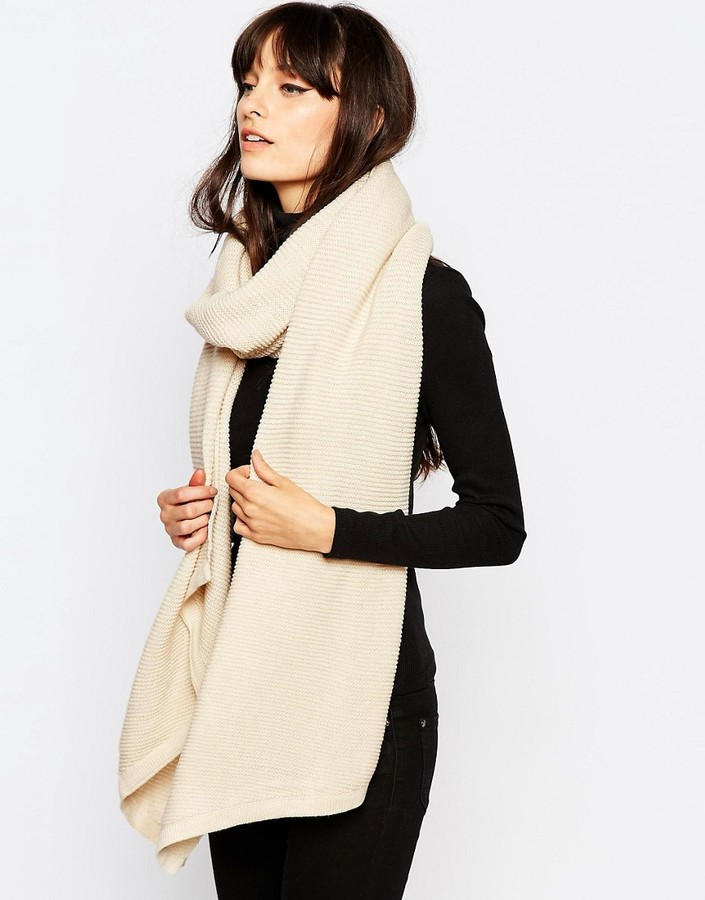Pieces Ribbed Oversized Blanket Scarf