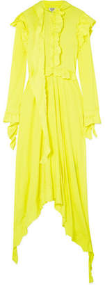 Vetements Frayed Ruffled Cotton-jersey Midi Dress - Bright yellow