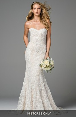 Women's Watters Copeland Strapless Lace Gown $4,475 thestylecure.com