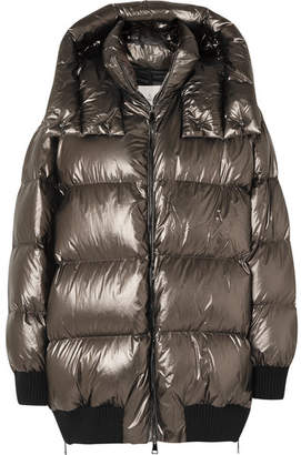 Moncler Quilted Metallic Shell Down Jacket - Bronze